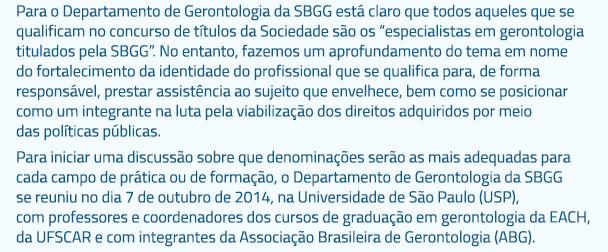 Importantes reflexões sobre os rumos da gerontologia no cenário nacional