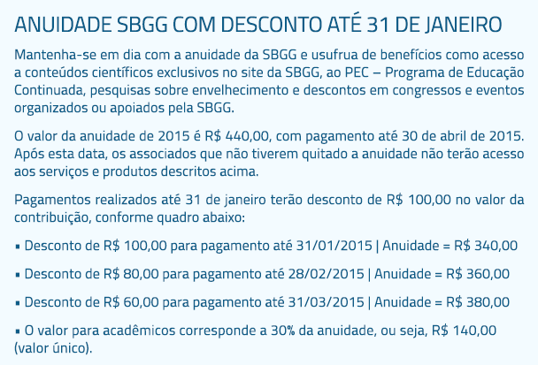 Anuidade SBGG com desconto até 31 de janeiro