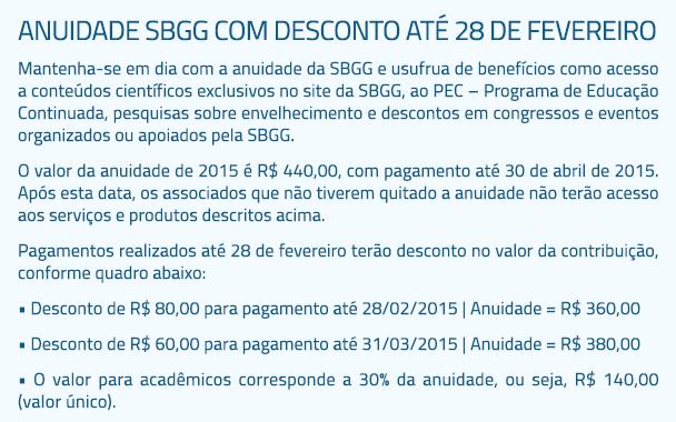 Anuidade SBGG com desconto até 28 de fevereiro