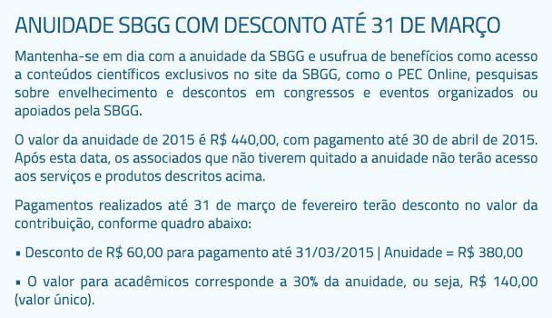 Anuidade SBGG com desconto até 31 de março