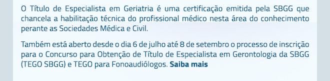 Título de Especialista em Gerontologia da SBGG