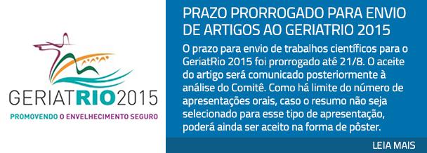 Prazo prorrogado para envio de artigos ao GeriatRio 2015