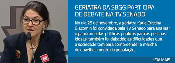 Geriatra da SBGG participa de debate na TV Senado