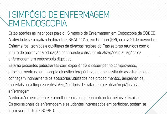 I Simpósio de Enfermagem em Endoscopia