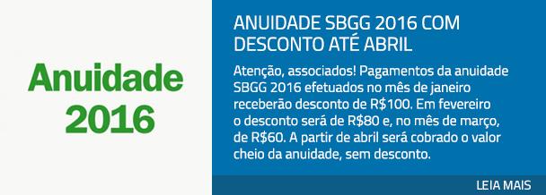 Anuidade SBGG 2016 com desconto até abril