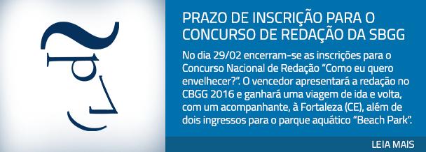 Prazo de inscrição para o Concurso de Redação da SBGG